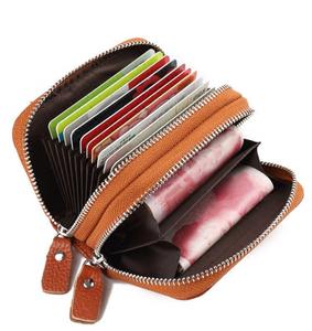 钱包卡包女式男真皮风琴卡片小巧拉链大容量多卡位头层牛皮零钱包