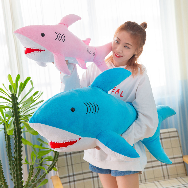 Shark PLUSH TOY CUTE sand fish doll long stick holding pillow boy girl birthday gift doll