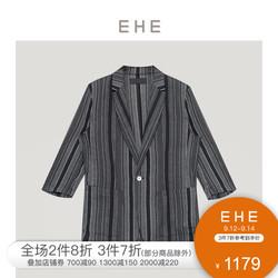 EHE男装 2021秋季新款黑色条纹纯棉百搭时尚七分袖休闲单西男外套