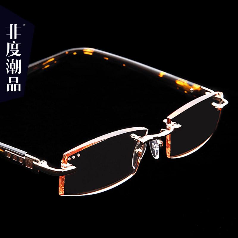 钻石切边老花镜男女时尚超轻防蓝光抗疲劳无框优雅老化眼镜老视镜