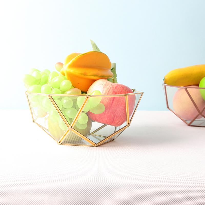 包邮铜条玻璃碗水果篮糖果碗手工餐桌摆饰收纳茶几小户型供果盘