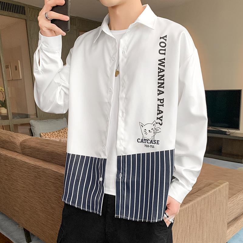 CS119-P35 2021春季新款男士休闲时尚潮流衬衣青年学生衬衫男装.