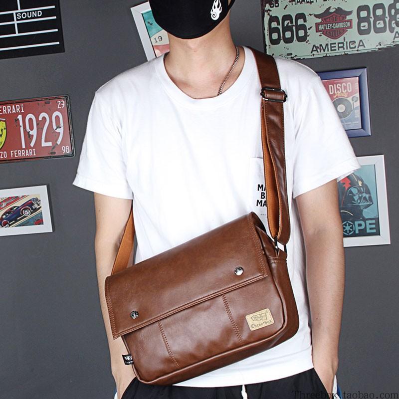 High end mens Korean retro casual shoulder bag mens cross body medium bag horizontal Leather Backpack simple flap postman Bag Fashion