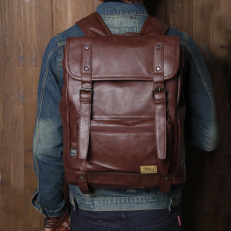 Retro Pu backpack Japanese Korean fashion literature backpack female Pu black Japanese literature Backpack