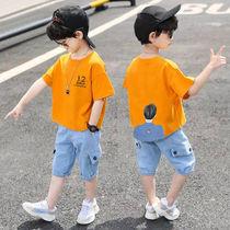 童装男童夏装2021新款套装男孩短袖短裤两件套牛仔裤3-6-8-9-12岁