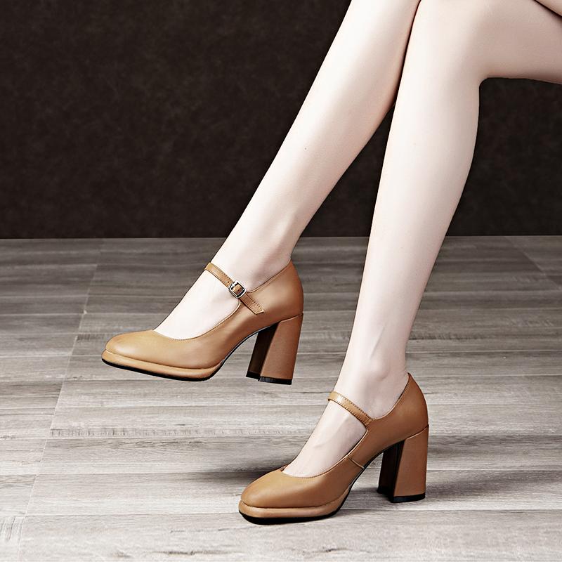 女鞋2019新款单鞋粗跟高跟复古小皮鞋女真皮方头玛丽珍鞋奶奶鞋