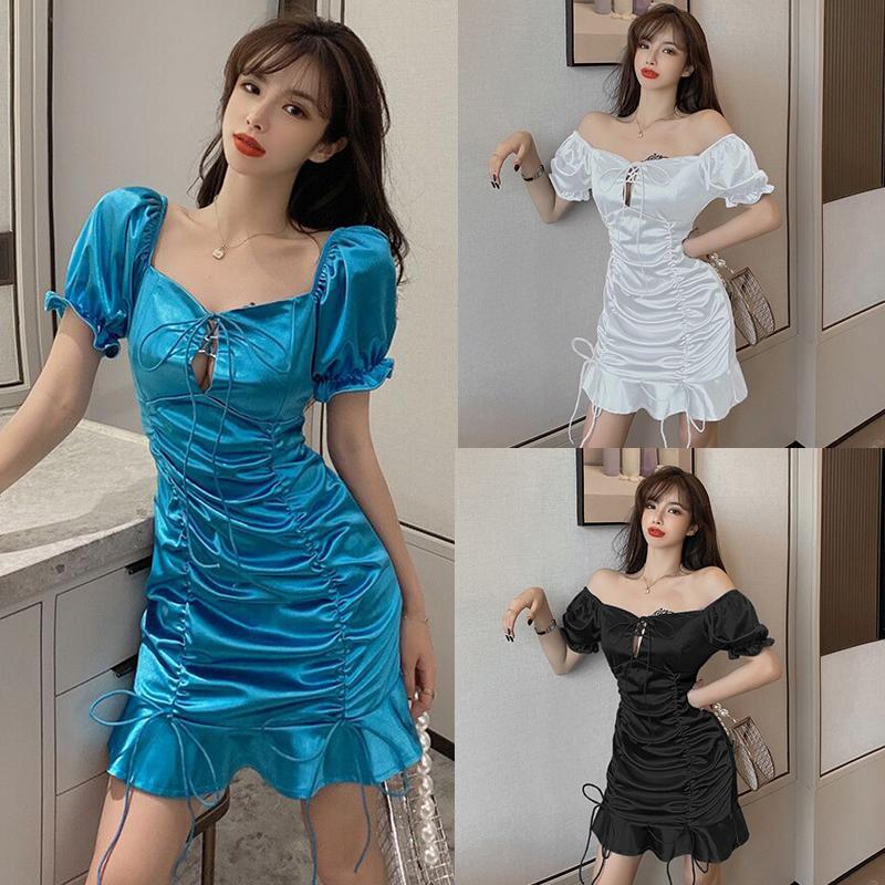 实拍新款女法式方领两穿法镂空绑系带褶皱荷叶边短袖连衣裙
