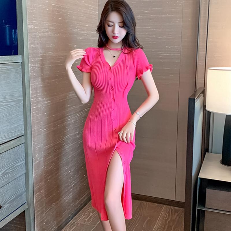 实拍 新款夏季新款法式温柔风修身气质开叉女人味针织连衣裙