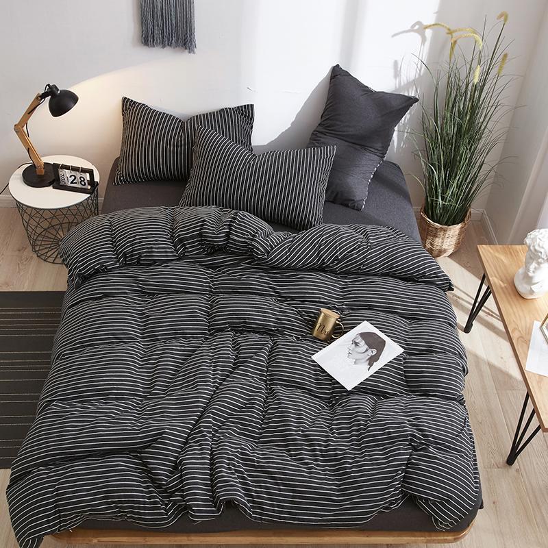 纯棉针织棉四件套裸睡简约无印天竺棉床单被套1.8米1.5米床上用品