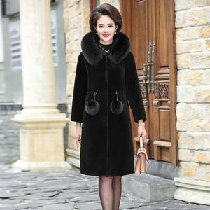 P6中老年女装妈妈冬装洋气外套冬季加厚中长款仿皮草水貂绒大衣