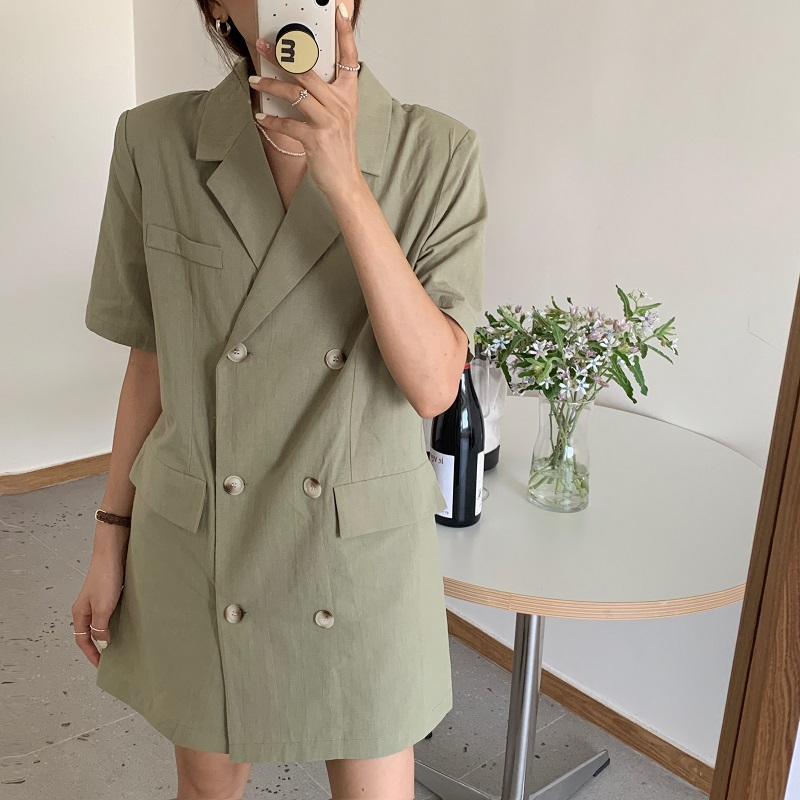 2021 summer new French light ripe cotton hemp LAPEL SUIT double breasted loose and thin short dress