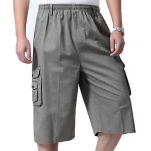 夏季薄款中年男士七分裤短裤爸爸装中裤中老年宽松高腰纯棉沙滩裤