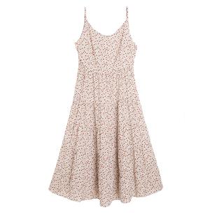 桑蠶絲吊帶無袖連衣裙過膝寬鬆碎花背心女夏內搭真絲V領打底裙子