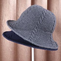东韵新款秋冬季女士羊毛针织麻花毛线帽子保暖时尚纯色休闲渔夫帽