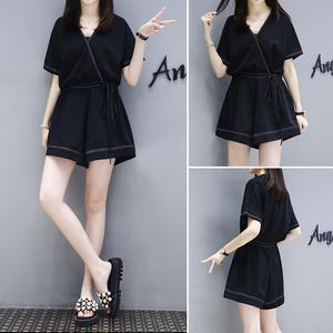 夏季黑色休闲短袖连体裤女2021新款高腰显瘦时尚气质阔腿连衣裤潮