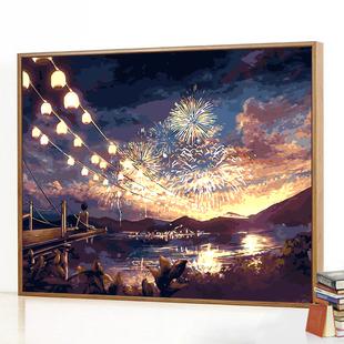 diy数字油画客厅风景卡通动漫水彩画减压涂色手绘填色装饰油彩画