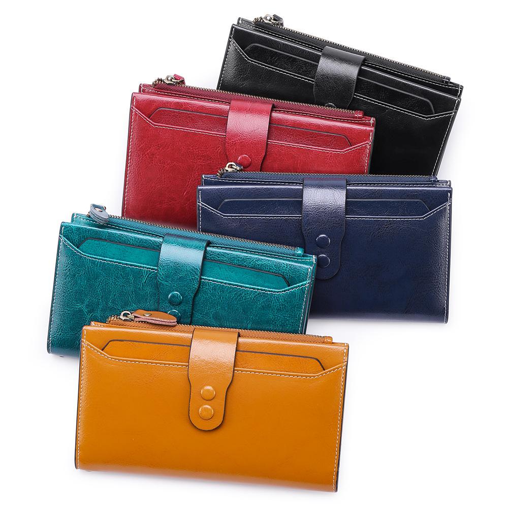 2021新款钱包女长款真皮大容量多功能钱夹女士折叠皮夹子复古手包