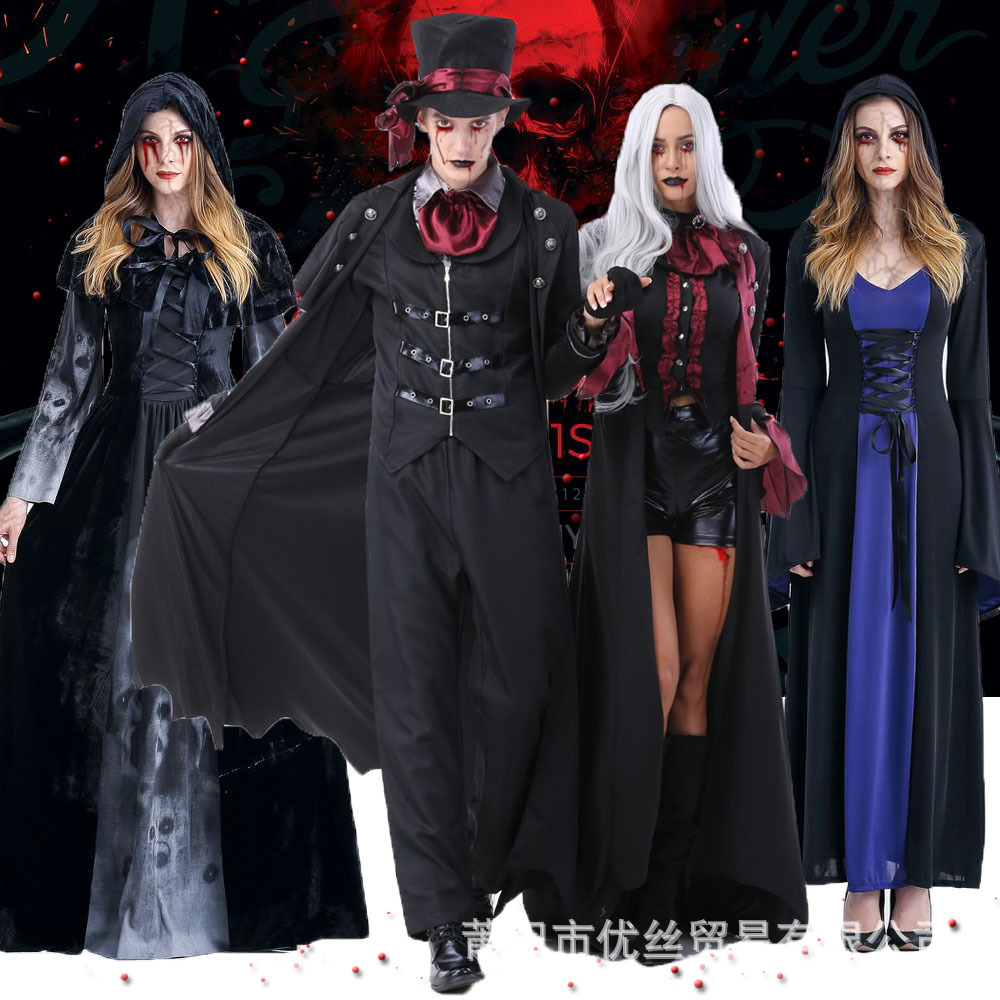 Real shooting of many vampire costumes on Halloween couples death robe devil costume Cosplay role playing Costume