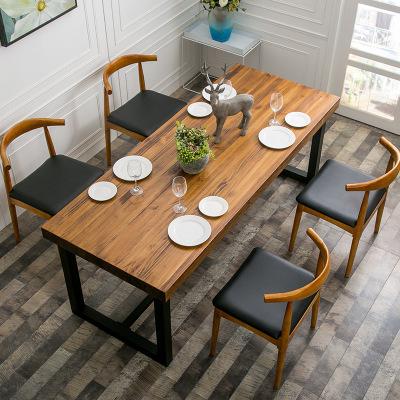 Обеденный стол стул сочетание современный простой прямоугольник обеденный стол стул небольшой квартира магазин стол твердая деревянная обедая тайвань железо рис стол