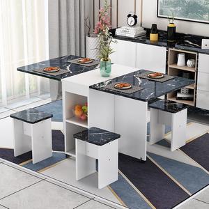 简易多功能桌椅组合吃饭桌子家用小户型可移动伸缩长方形折叠餐桌