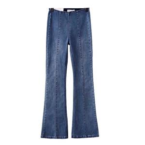 欧美女装   欧洲站时尚高腰弹力牛仔喇叭裤超显瘦女士秋季长裤子