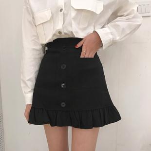 瘦小個子145cm加小碼XS學生百搭魚尾裙短裙150顯高高腰A字褲裙秋
