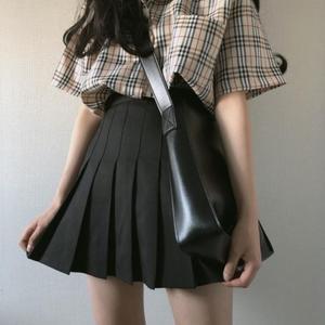 领5元券购买小个子145cm高腰百褶短裙女加小码XS码150cm黑色百搭A字半身裙夏