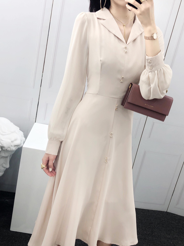 露合法式拼接雪纺收腰西装领长裙(非品牌)
