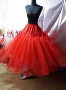 婚纱礼服长款齐地4层硬纱无骨白色黑色红色蓬蓬裙撑