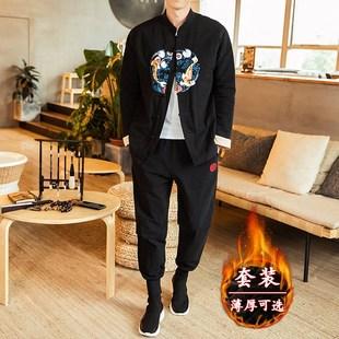 青年唐装 中国风男装 复古风汉服居士外套冬季 套装 佛系中式 棉袄 古装