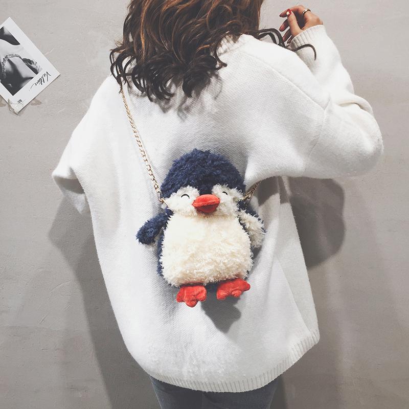 ins超火少女可爱企鹅毛毛包包女2019新款百搭毛绒链条单肩斜挎包(用39.1元券)