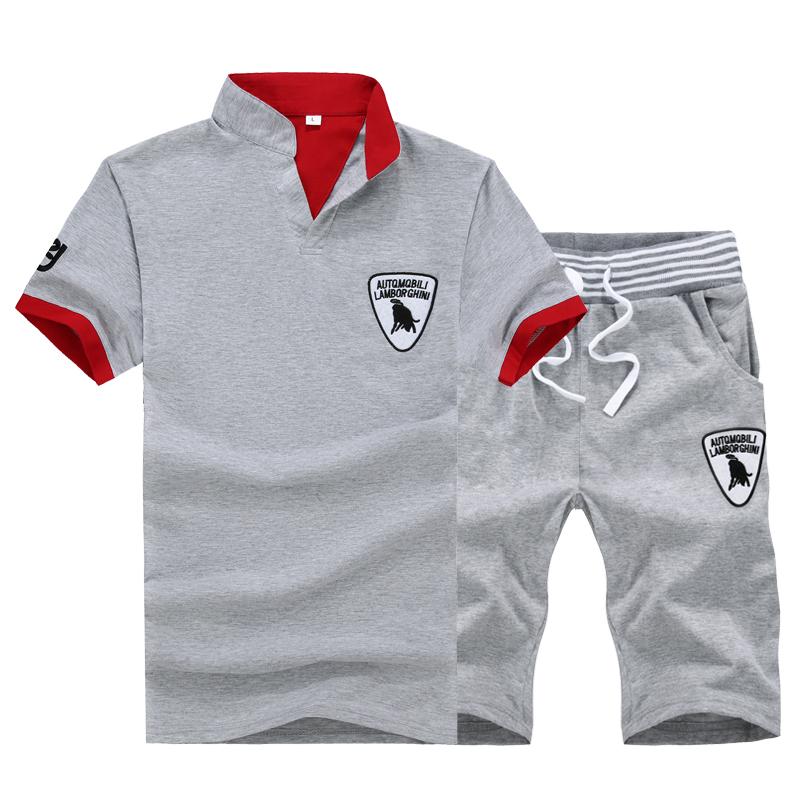 跑步运动套装男夏季中学生休闲运动服短袖五分短裤健身服男两件套