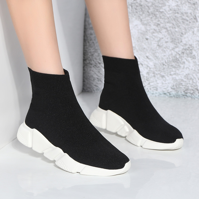 Stars same ins super fire elastic sock shoes womens high top knitted sports casual shoes in autumn / winter 2019