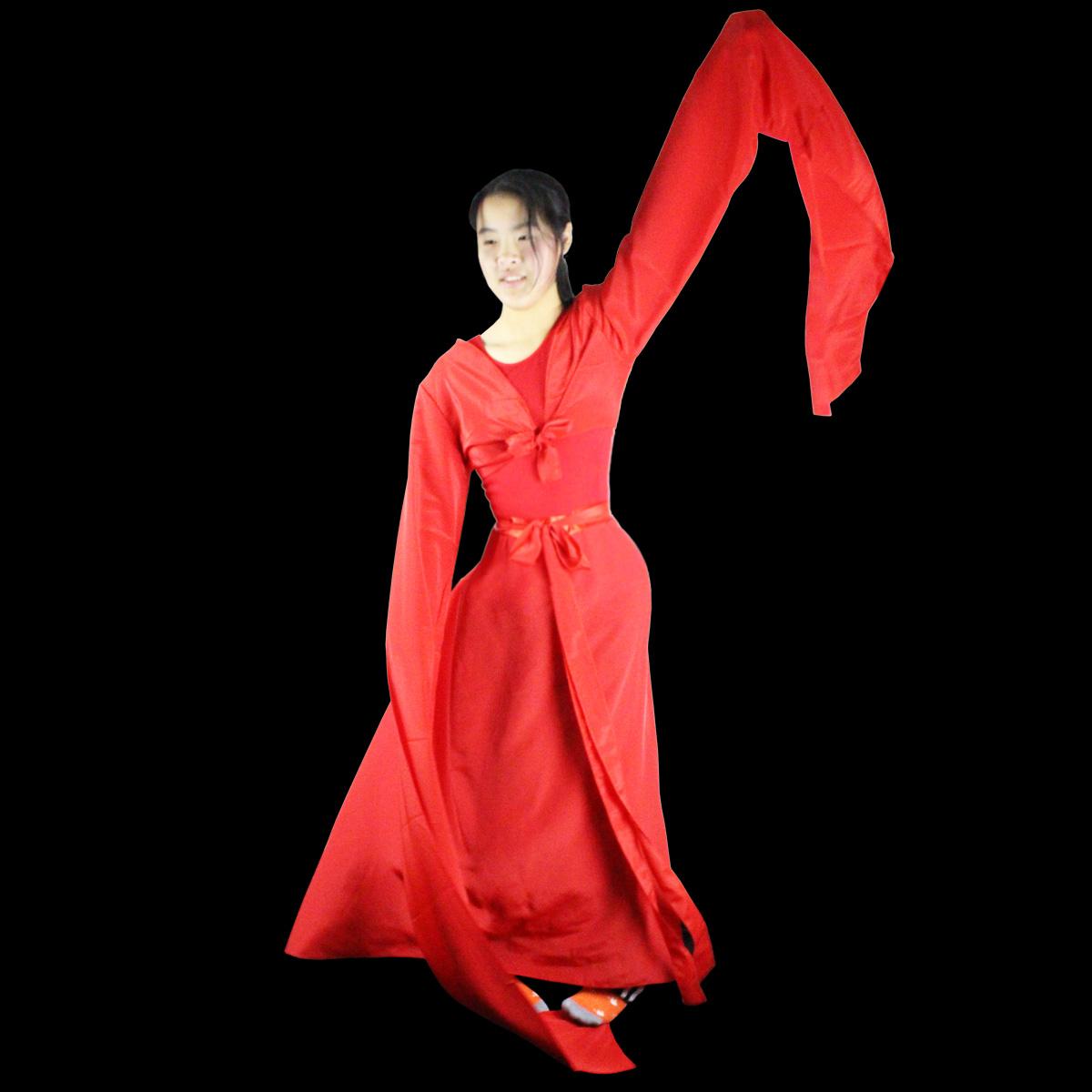 采薇演出服女云裙水袖舞蹈裙子成人�h服儒裙��鲶@��舞古典舞�和�