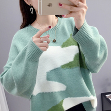 Sweater women's loose outside wear autumn and winter 2019 new Pullover lazy style Korean makalon knitwear net red top