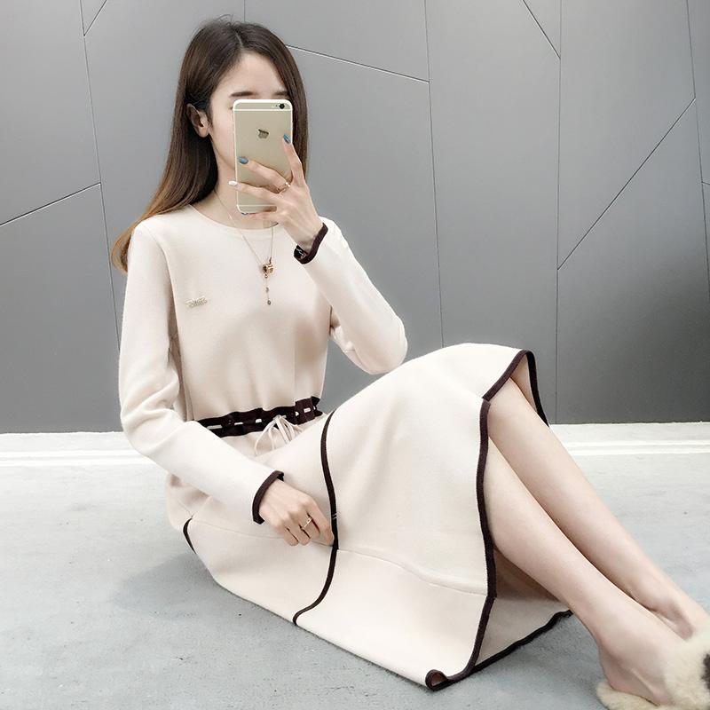 过膝连衣裙女秋冬装2020年新款打底衫针织中长款毛衣宽松外穿加厚
