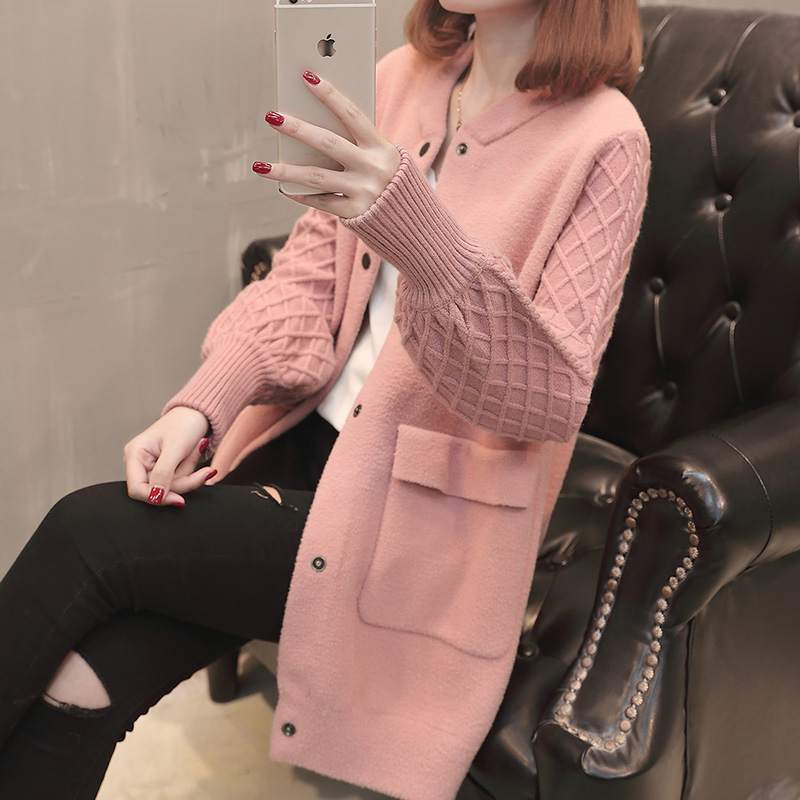 中长款长袖针织衫外套2018早春开衫女装新款韩版宽松纯色毛衣外搭