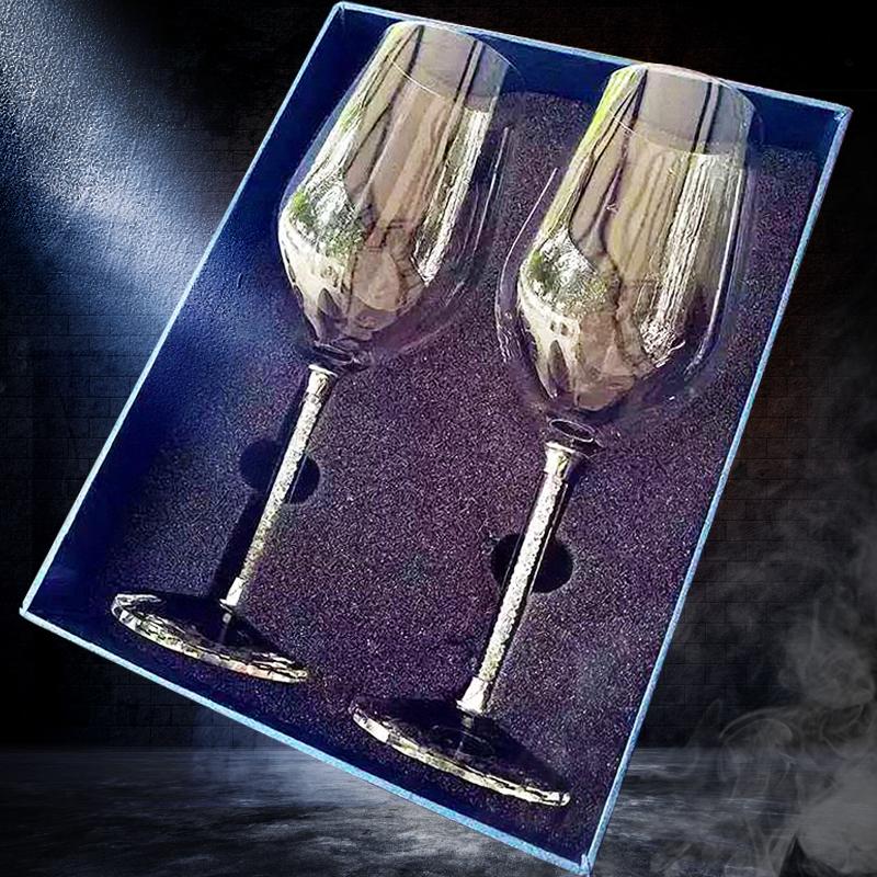 水晶红酒杯高脚杯醒酒器套装家用创意欧式2个玻璃葡萄酒杯一对装
