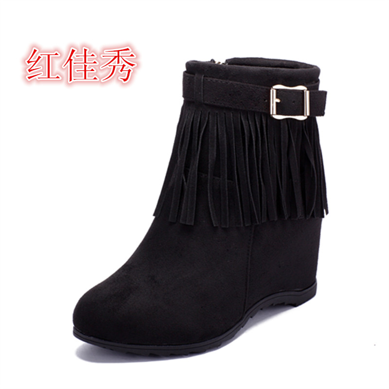 Autumn and winter high-heeled short boots women's fringe women's boots short tube Martin boots inside heighten British style single boots women's boots and leather shoes