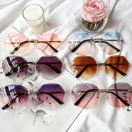 2020新款网红太阳镜女多边形渐变色韩版潮流墨镜时尚防紫外线眼镜图片
