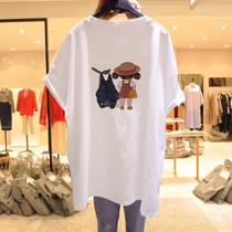 孕妇装夏季短袖t恤女宽松纯棉半袖新款大码中长款连衣裙体恤上衣