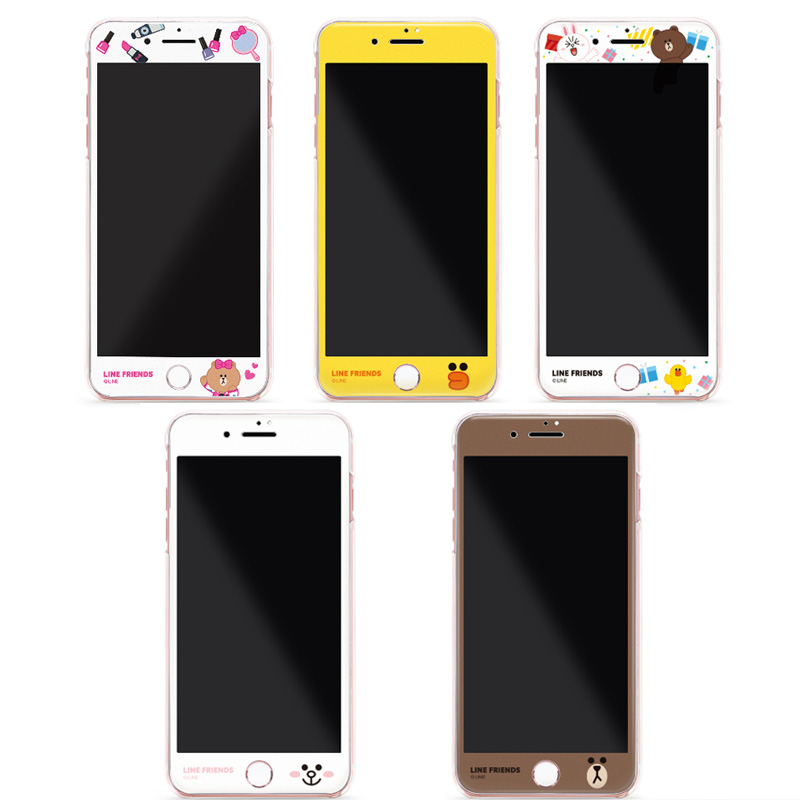 台湾LINE FRIENDS苹果手机钢化膜iPhone7/8 7/8Plus 3D高透9H包邮