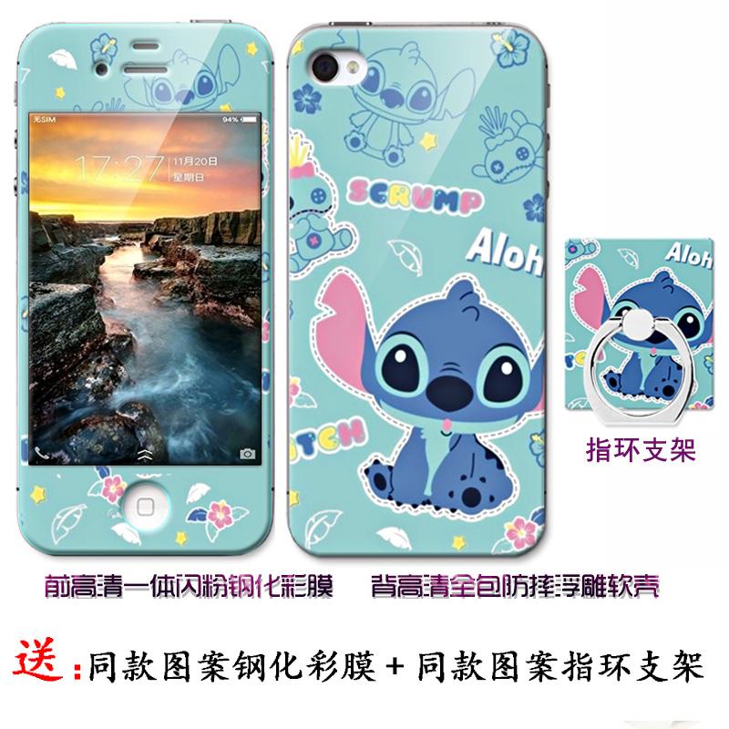 智脑iphone4/4S手机壳苹果4代保护套4s硅胶卡通软壳+送一体钢化膜