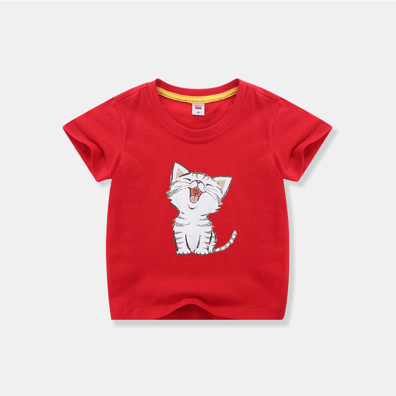 Summer childrens short sleeve T-shirt boys and girls cotton half sleeve bottom coat baby middle big childrens top Kitty