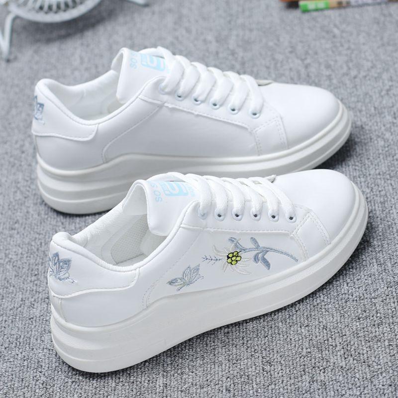 小白鞋女春季鞋子潮鞋新款百搭韩版学生皮面休闲板鞋2019平底单鞋