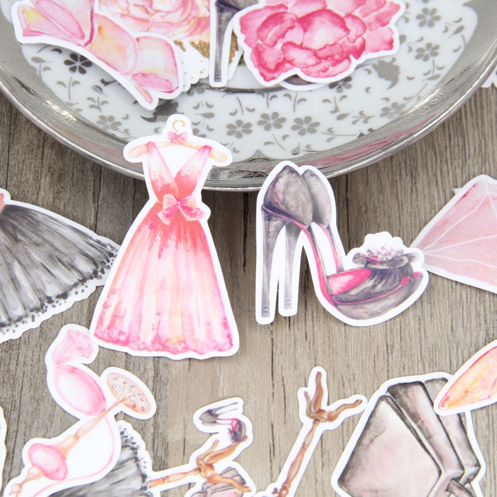 Beautiful fashion evening dress skirt high heel shoes homemade sticker package girls around hand account decoration sticker