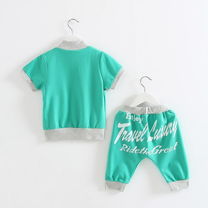 Лета 2016 корейской версии новых мальчиков девочек Детская одежда ребенка ребенка короткие куртки брюки костюм TZ-0438 от Kupinatao