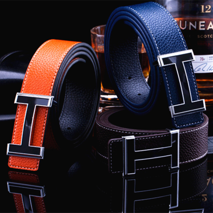 I-shaped buckle young peoples belt mens leather pants belt z-button leisure belt mens personality versatile car logo women