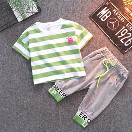儿童套装夏装韩版小童洋气婴儿九分裤帅气两件套夏季男童短袖衣服