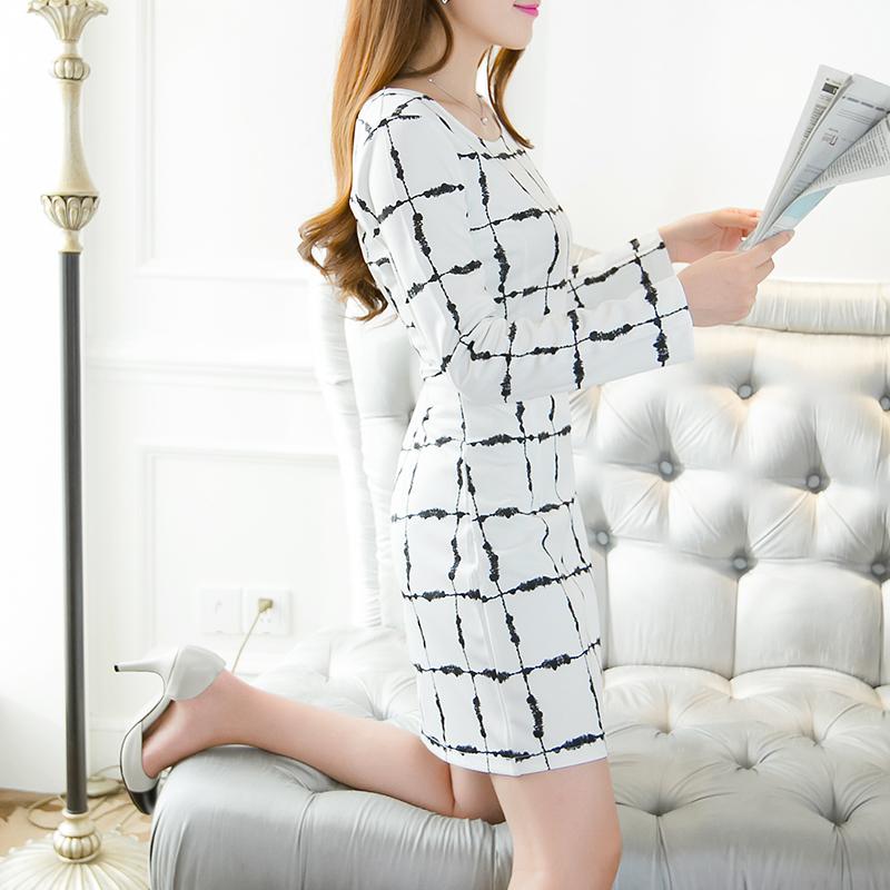 Платья цвета о корейской версии свежий новый тонкий тощий плед с длинным рукавом мешок хип платье принцессы Дианы осенью 2015 Тайд от Kupinatao